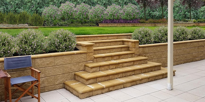 Concrete Block Retaining Wall With Steps