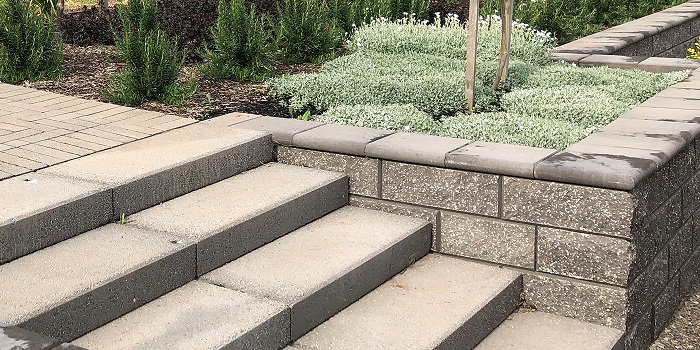 Grey Concrete Block Retaining Wall With Steps